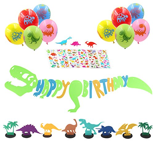 Dinosaur Happy Birthday Banner: 1 Dinosaur Roar Banner, 10 Dinosaur balloons, 6 Dinosaur Table Decor, 6 Dinosaur Stickers-Party Supplies Decoration Favors For Baby Shower Boys Room (Happy Day Invitation)