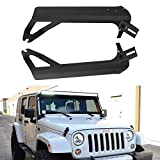 Upper Roof Windshield Mounting Brackets With Lower Corner A-pillar Hinge Mount Brackets For 50Inch LED Work Light Bar And 4In Spot Flood Pods Cube Fog Lights Fit 1999-2006 Jeep TJ Wrangler Sport X