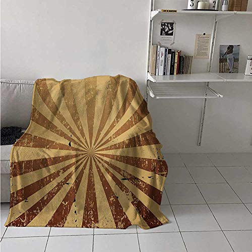 maisi Tan Digital Printing Blanket Sunburst Pattern Aged Rusty Jagged Grungy Retro Style Rays Old Worn Composition Summer Quilt Comforter 62x60 Inch Brown Pale Brown