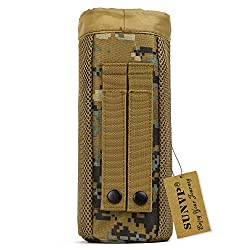 Huntvp Tactical Water Bottle Pouch Military Molle Pack Gear Waist Back Pack (Jungle Camouflage)