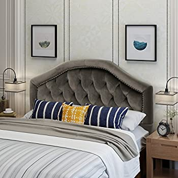 Lazarus Grey Velvet Queen/Full Headboard