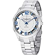 "Amazon Lightning Deal 94% claimed: Stuhrling Original Mens Watch ""Specialty Winchester"" Swiss Quartz Stainless Steel Transparent Silver Dial Water Resistant Watches"