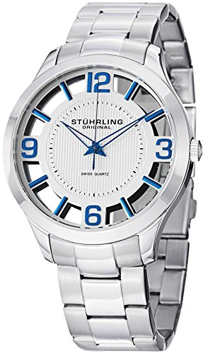 "Stuhrling Original Mens Watch ""Specialty Winchester"" Swiss Quartz Stainless Steel Transparent Silver Dial..."