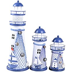 House Decoration LED Night Light Color Changing Vintage Ocean Lighthouse Wedding Lamp,Mediterranean Style (Medium)