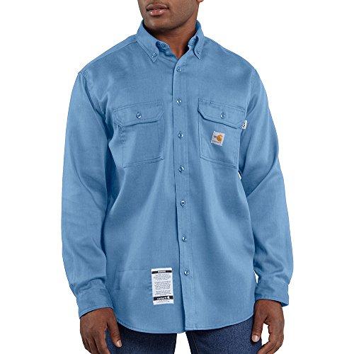 Carhartt Men's FRS003 Flame-Resistant Long Sleeve Lightweight Twill Shirt - 2X-Large Tall - Medium Blue