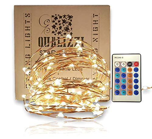 QUALIZZI Fairy Lights (33Ft/100LEDs) - Warm White Stylish Led Copper Wire Starry String Lights w/Remote Control. Give a Chic Accent to Your Home or Patio Decorations (small)