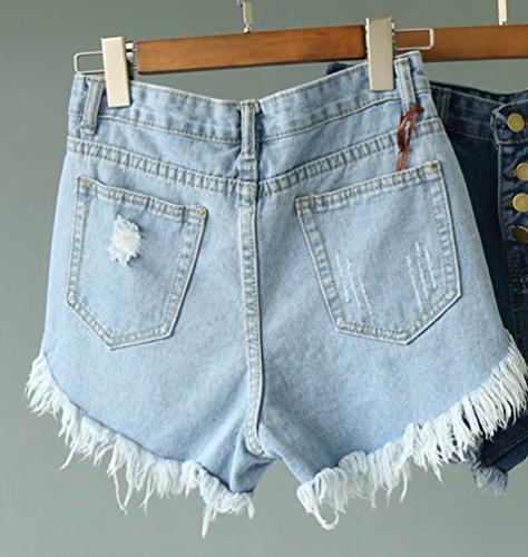 Distrutti Con Hot Strappati Azzurro Tasche Pantaloncini Lvraoo Jeans A Vita Donna Pants Alta Denim qxRBPw0