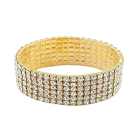 S&Moon Glitter Gold Plated Multilayer Crystal Strand Stretch Bracelet (Gold) - Glitter Stretch Bracelet