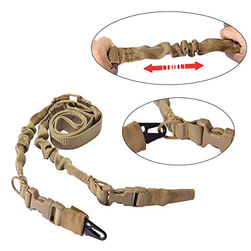 CHUCI Two Point Gun Sling Adjustable Bungee Rifle Sling Strap Military Tactical QD Quick Detach Sling with Hook for Outdoor Hunting Shooting TAN