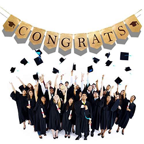 Congrats Banner Burlap Graduation Banner with Black Graduation
