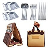 Portable Stainless Steel Picnic Cutlery Set for 4 Person Travel Camping Outdoor Utensils Dinnerware Organizer Large Storage Bag with Handle for Picnics Hiking BBQs RVs