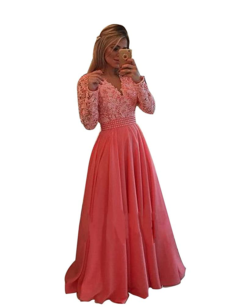 Watermelon LISA.MOON Women's V Neck Long Sleeves Back Hole Lace Applique Pearl Evening Gown