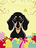 Caroline's Treasures BB1897GF Smooth Black and Tan Dachshund Easter Egg Hunt Garden Flag, Small, Multicolor Review