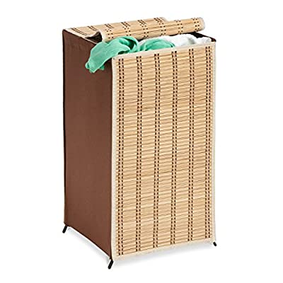 Honey-Can-Do HMP-01619 Tall Wicker Weave Hamper, Bamboo Laundry Organizer - Durable steel frame Convenient cover Contemporary design - laundry-room, hampers-baskets, entryway-laundry-room - 51xXs%2BQzOCL. SS400  -