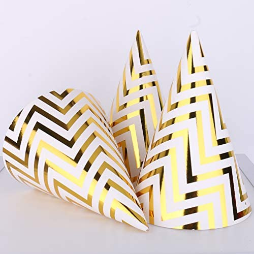 Gold Birthday Party Cone Hats, 12 ct