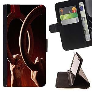 - Gymnastics - - Monedero PU titular de la tarjeta de cr?dito de cuero cubierta de la caja de la bolsa FOR Samsung Galaxy S5 V SM-G900 Retro Candy