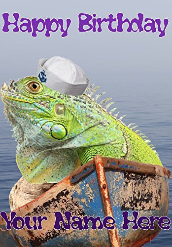 Iguana hs187 Hello Sailor Divertido lindo feliz cumpleaños ...
