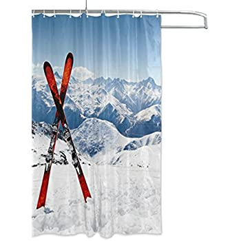 Pair Of Cross Skis Pattern Shower Curtain Polyester Fabric Bathroom By Aideess Waterproof Mildew
