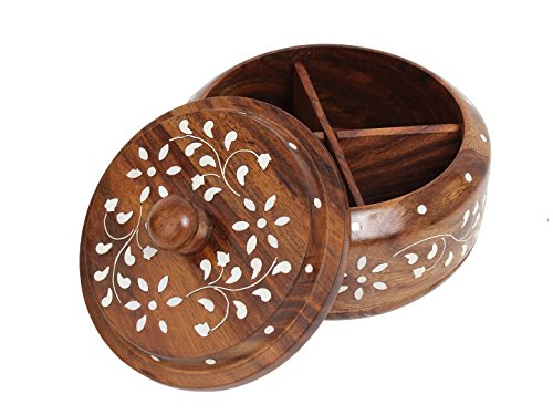 Indian Glance Wooden Large Spice Rack Organizer Box White Inlay   Holder   Containers Without Spices (Masala Dabba Spice Box)