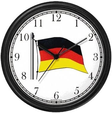 WatchBuddy Flag of Germany No.2 – German Theme Wall Clock Timepieces Black Frame
