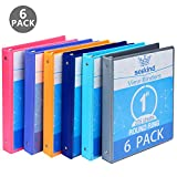"1 Inch 3 Ring Binders,SEEKIND View Binders,Holds Up to 8.5""1.1"" Paper,Customizable Clear Cover,for Home,Office, and School Supply,6 Pack"