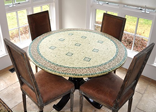LAMINET - Elite Elastic Edged Print Table Pad - Mosaic Green - Small Round - Fits Tables up to 44