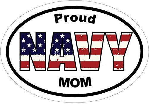ION Graphics Navy Decal - Proud Navy MOM Vinyl Sticker - Navy Mom Bumper Sticker - Navy Sticker - Perfect Navy Mother Gift - Proudly Made in The USA Size: 4.7 x 3.3 inch