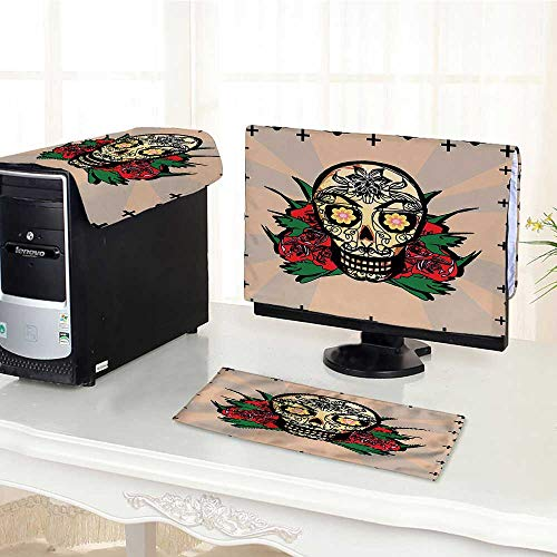 Auraisehome One Machine LCD Monitor Keyboard Cover Sugar Skull with Red Rose and Cross Spooky Halloween Horror Mystic Art Theme dust Cover 3 Pieces -