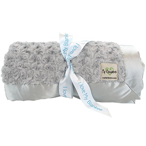 My Blankee Snail Luxe Twin Blanket with Flat Satin Border, Silver, 59'' X 85''