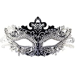 Masquerade Mask Shiny Metal Rhinestone Venetian Pretty Party Evening Prom Mask