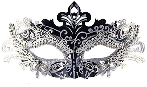 Coxeer Pretty Elegant Lady Masquerade Halloween Mardi Gras Party Mask (Black & Silver)