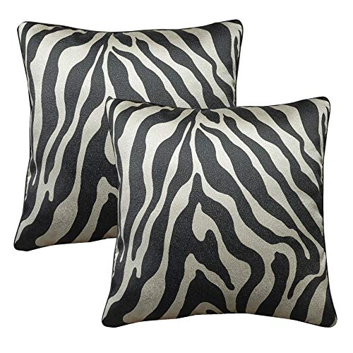WOMHOPE Set of 4 Black and Silver Vintage Animal Decorative Throw Pillow Covers Pillow Cases Cushion Cases Throw Pillow Covers 18 x 18 Inch for Living Room,Couch and Bed (Zebra Print (Set of 2 pcs))