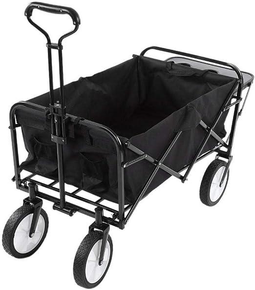 Carro Plegable de Mano, Carro de Playa, Carretilla Plegable, para Exterior, Remolque de jardín, Carro de Transporte Adecuado para Todos los terrenos, Negro con Gris: Amazon.es: Jardín