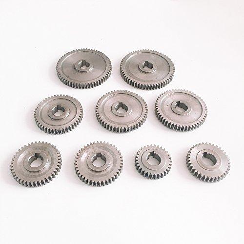 9Pcs/Set CJ0618 Lathe Replacement Exchanging Gears Teeth 2xT60, T45, 2xT50, 2xT40, T30, T35, Metal