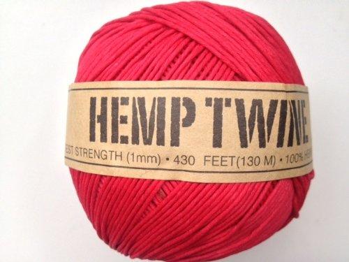 (Red Hemp Twine Cord 1mm 143yd 130m 430ft DIY )