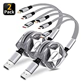 3 in 1 Retractable Charging Cable, Amuvec [2-Pack 2.7Ft] Multi Fast Charger Cord with Phone/Type C/Micro USB Charge Port. Compatible with Samsung Galaxy/Google Pixel/Huawei/LG V20/G5/Kindle/PS4(Grey)