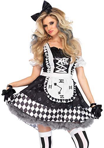 Leg Avenue Women's Black and White Wonderland Alice Costume, Large -
