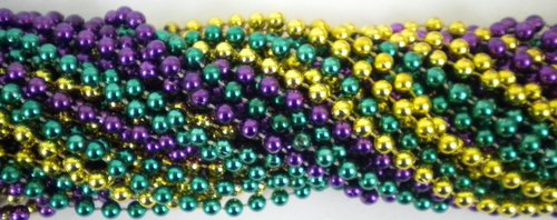 33 inch 07mm Round Metallic Purple Gold and Green Mardi Gras Beads - 6 Dozen (72 necklaces) (New Orleans Costume)