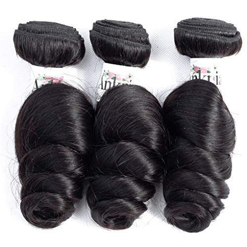 (Anknia Brazilian Virgin Hair Loose Wave 3 Bundles Deals Good Cheap Mink Unprocessed Wet And Wavy Human Hair Bundles Weave Wefts Remy Hair Extensions Natural Black Color 10 12 14 Inch)