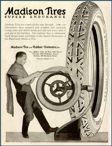 Hand-Stretching Tires in 1920 Madison TIRE CO. AD Original Paper Ephemera Authentic Vintage Print Magazine Ad/Article