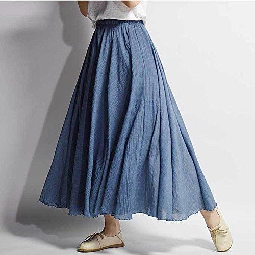 Elegante Larga Falda Boho Azul Boda Noche Maxi Elástica Plisadas Grande De De Cintura Fiesta Falda De Mujer Vestido Playa Vestidos t6Bw8B