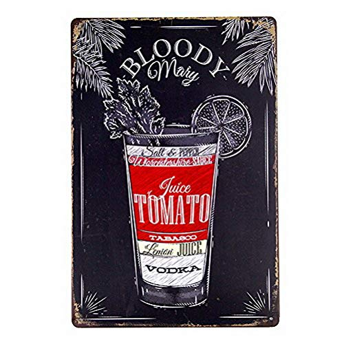 DYTrade Tin Sign Nostalgic Alcohol Retro Bloody Mary Recipe ()