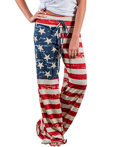Buauty Women's Comfy Soft Stretch Wide Leg American Flag Print Palazzo Pajama Pants Lounge (American Flag Sweatpants)