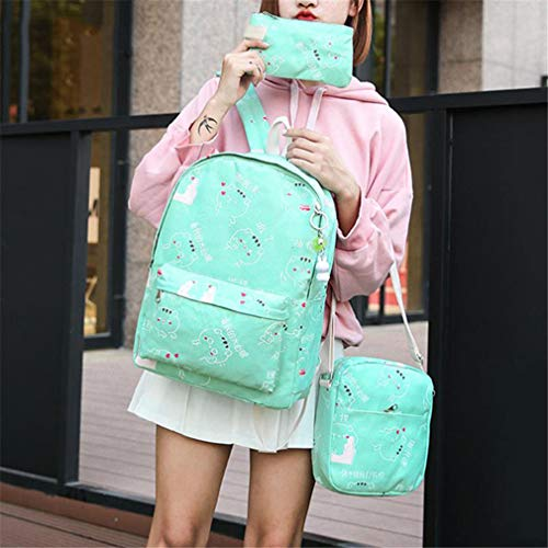 Teenage Girls 3Pcs Deep Backpacks Blue School Green v4nUwqd