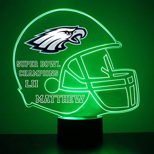 Mirror Magic Store Philadelphia Eagles Football Helmet LED Night Light with Free Personalization - Night Lamp - Table Lamp - Featuring Licensed Decal