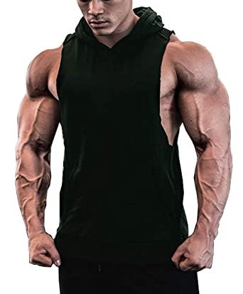 d46123caf5e1e Amazon.com  Jinidu Men s Workout Hooded Tank Tops Sleeveless Gym Hoodies  with Kangaroo Pockets  Clothing