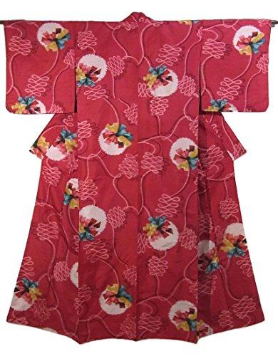 逃げるスキャンダラス浸食アンティーク 着物 銘仙  くす玉のような意匠 正絹 袷 裄62cm 身丈151cm