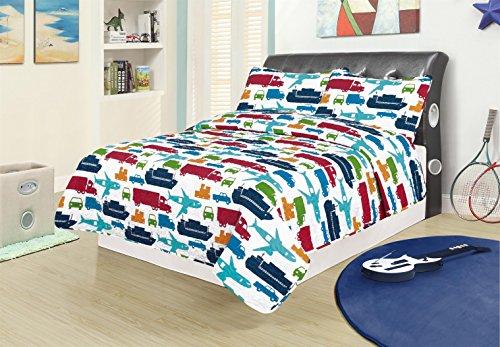 Twin 2 Piece Bed Set Bedding Quilt Bedspread, Car Truck Plane Boat Semi (Cars 2 Piece Bath)