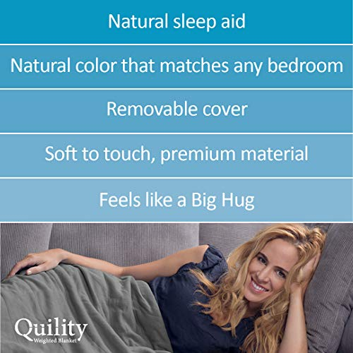 "Quility Premium Adult Weighted Blanket & Removable Cover | 15 lbs | 60""x80"" 