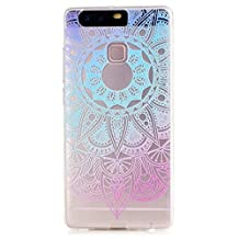Samsung Galaxy S8 Plus Case, JIEJIEWYD Mandala Floral Designer Hard Shell Case Clear Back Cover, Slim Fit, TPU Slim Fit Scratch Resistant Case For Samsung Galaxy S8 Plus- blue purple mandala Lace flowers